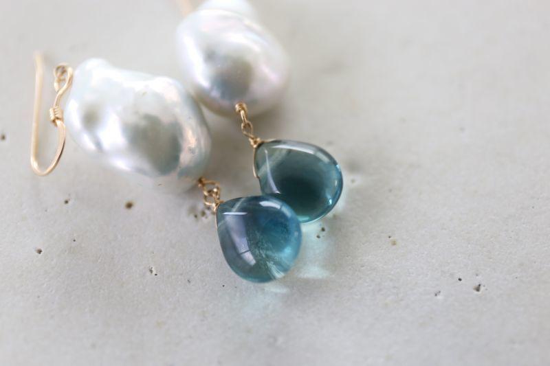 画像2: 14KGF baroque pearl fluoritepierce