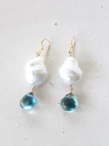 画像1: 14KGF baroque pearl fluoritepierce