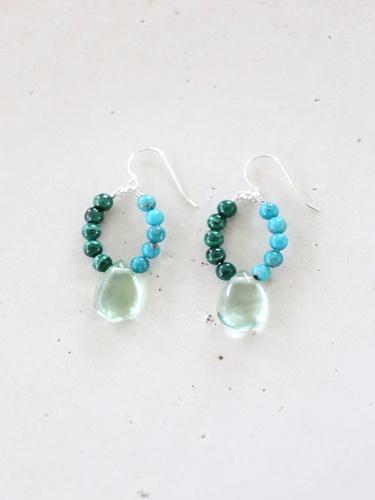 画像1: SILVER925 turquoise malachite pierce