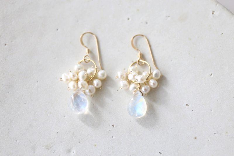 画像2: 14KGF moonstone pearl  pierce