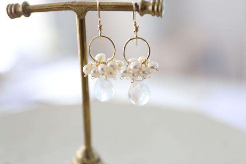 画像3: 14KGF moonstone pearl  pierce