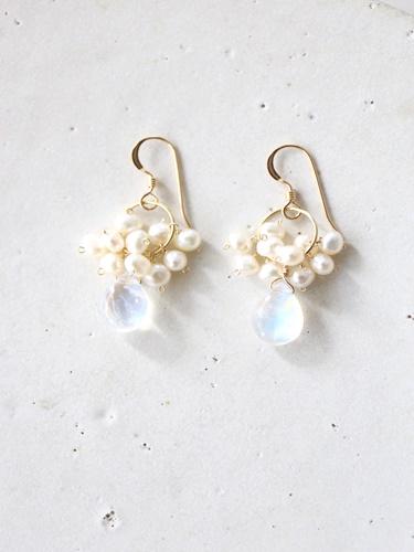 画像1: 14KGF moonstone pearl  pierce
