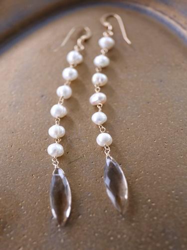 画像1: 14KGF  smoky quartz pearl pierce