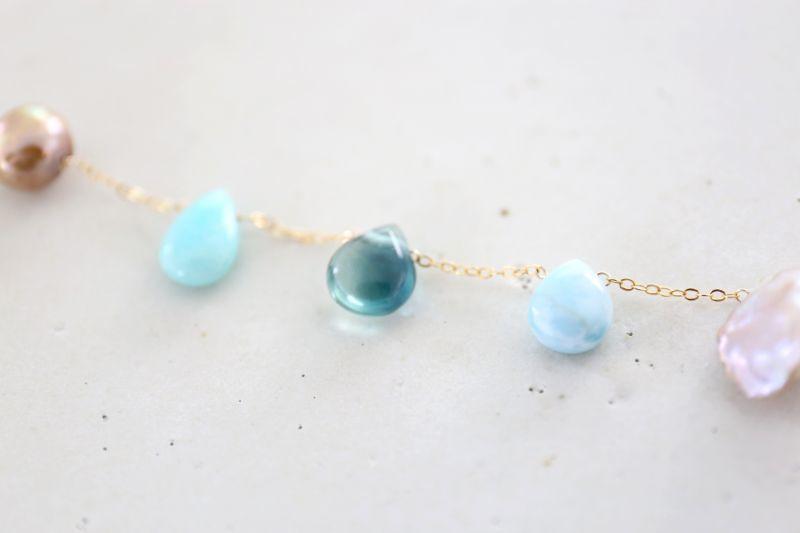 画像2: 14KGF lapis lazuli larimar multi bracelet