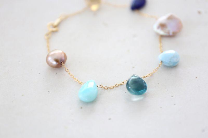 画像5: 14KGF lapis lazuli larimar multi bracelet