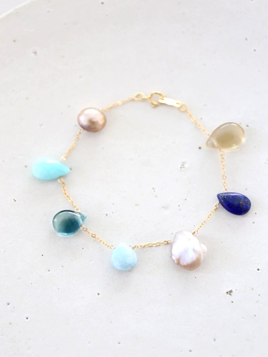 画像1: 14KGF lapis lazuli larimar multi bracelet