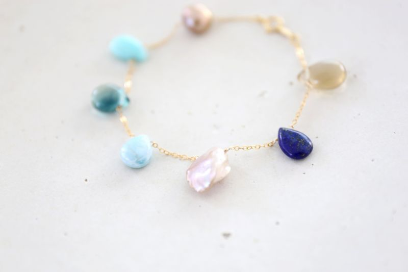 画像4: 14KGF lapis lazuli larimar multi bracelet