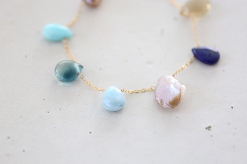 画像3: 14KGF lapis lazuli larimar multi bracelet