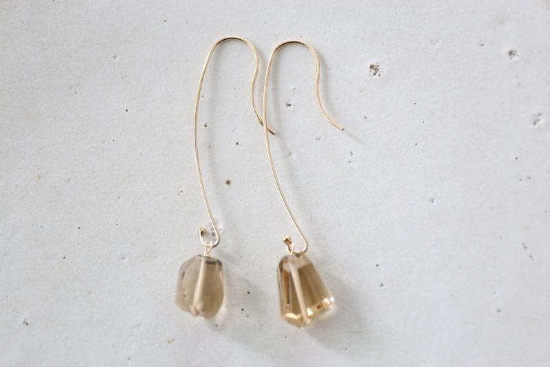 画像5: 14KGF  champane quartz pearl pierce