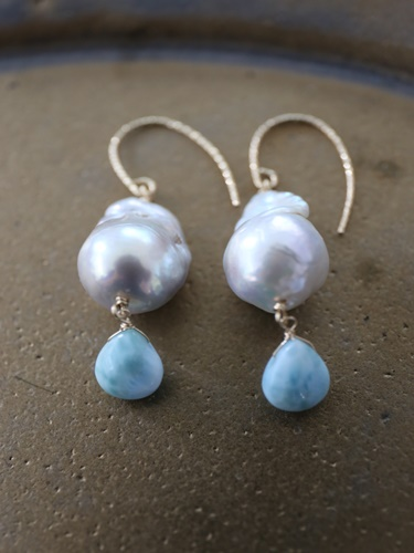 画像1: 14KGF larimar baroquepearl pierce