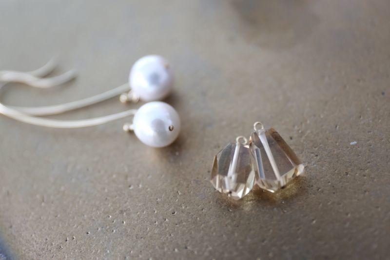 画像4: 14KGF  champane quartz pearl pierce