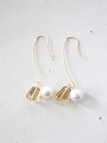 画像1: 14KGF  champane quartz pearl pierce
