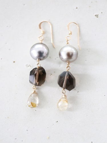 画像1: 14KGF  South Sea Pearl smoky quartz pierce
