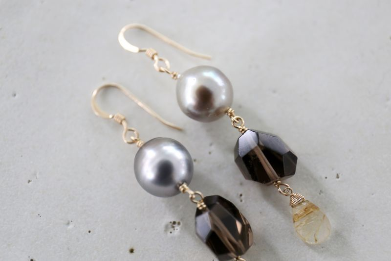 画像4: 14KGF  South Sea Pearl smoky quartz pierce