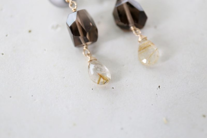 画像2: 14KGF  South Sea Pearl smoky quartz pierce