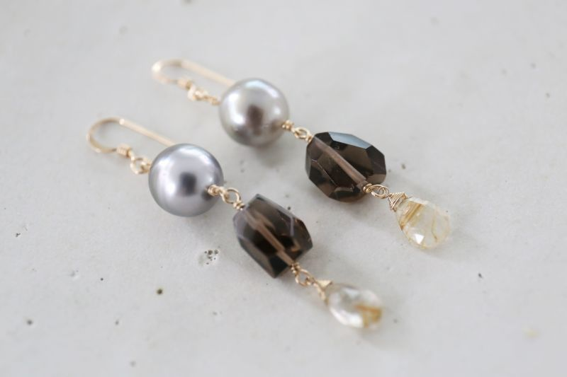 画像5: 14KGF  South Sea Pearl smoky quartz pierce