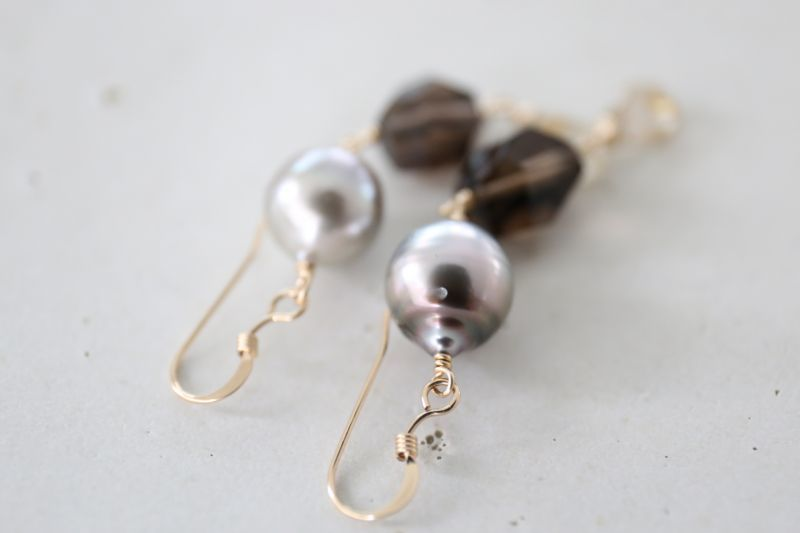 画像3: 14KGF  South Sea Pearl smoky quartz pierce