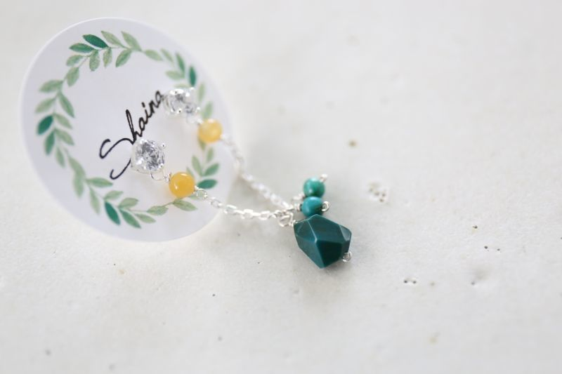 画像3: SILVER925 2hole   chrysocolla pierce