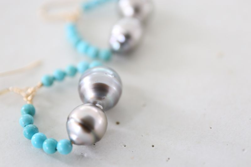 画像2: 14KGF turquoise South Sea Pearl pierce