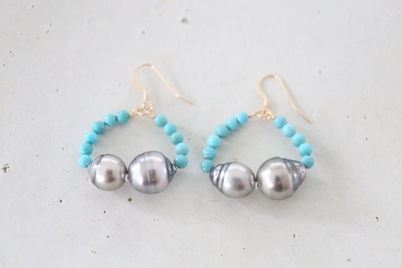 画像4: 14KGF turquoise South Sea Pearl pierce