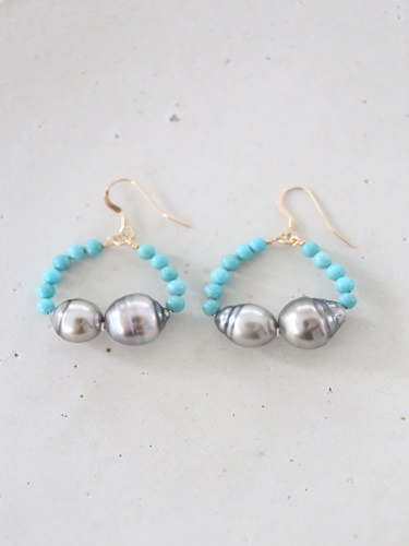画像1: 14KGF turquoise South Sea Pearl pierce