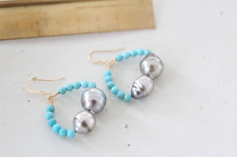 画像3: 14KGF turquoise South Sea Pearl pierce
