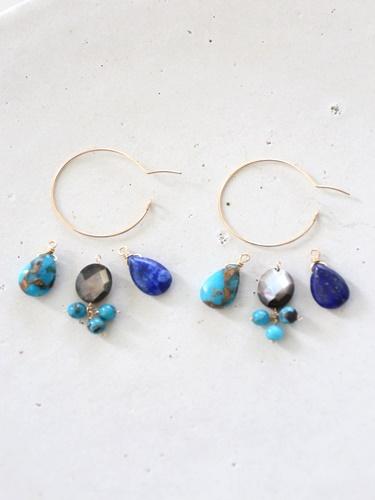 画像2: 14KGF ways lapis lazuli  turquoise hooppierce