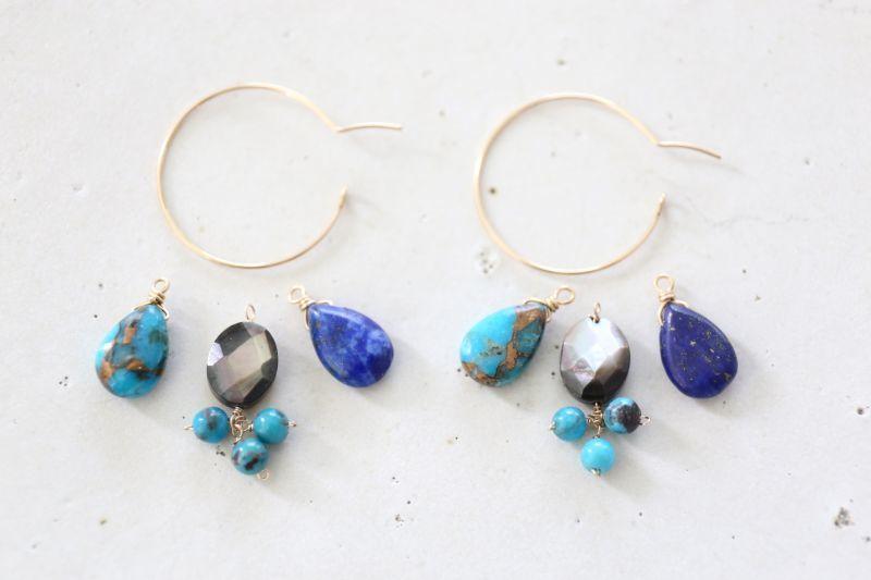画像3: 14KGF ways lapis lazuli  turquoise hooppierce