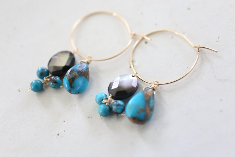 画像4: 14KGF ways lapis lazuli  turquoise hooppierce