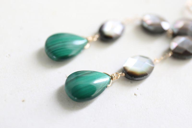 画像3: 14KGF mother of pearl malachite  pierce