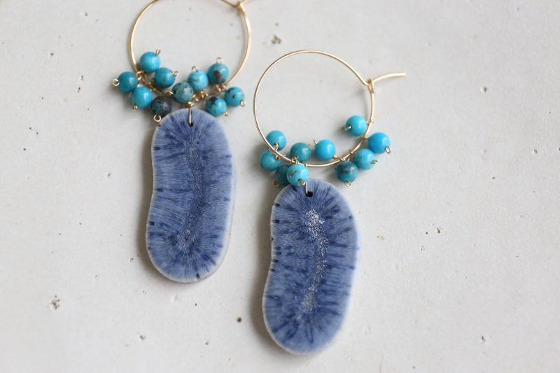 画像3: 14KGF bluecoral  turquoise pierce