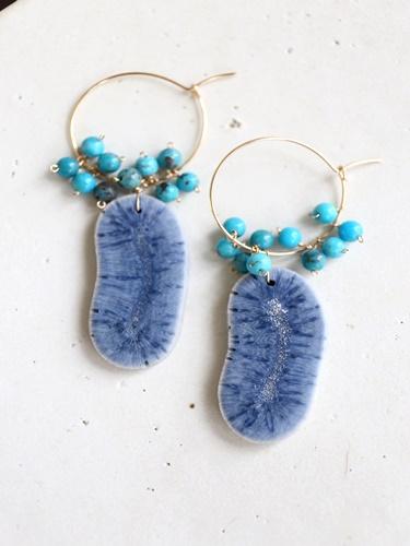 画像1: 14KGF bluecoral  turquoise pierce