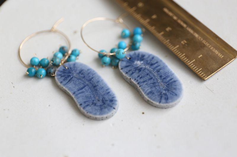 画像2: 14KGF bluecoral  turquoise pierce