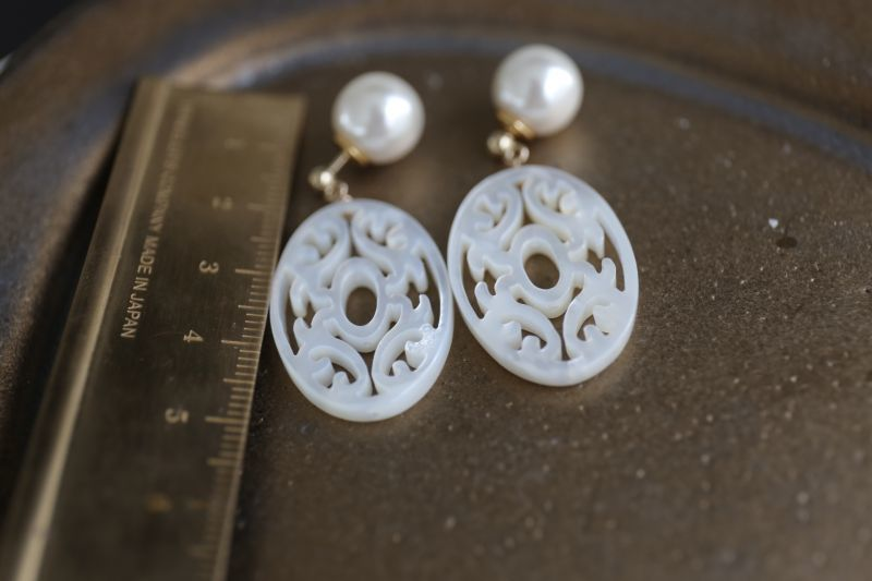 画像3: 14KGF whitepearl oyster pierce