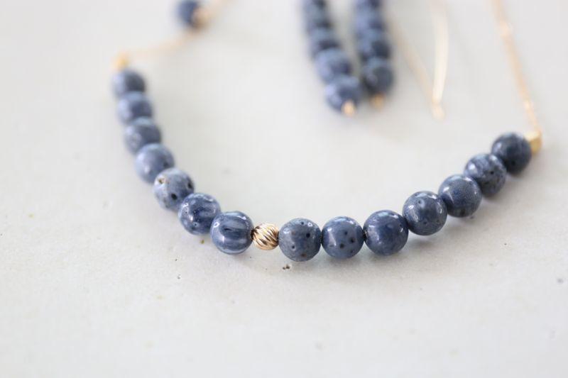 画像4: 14KGF  blue coral necklace