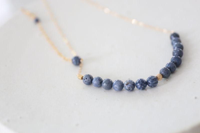 画像2: 14KGF  blue coral necklace