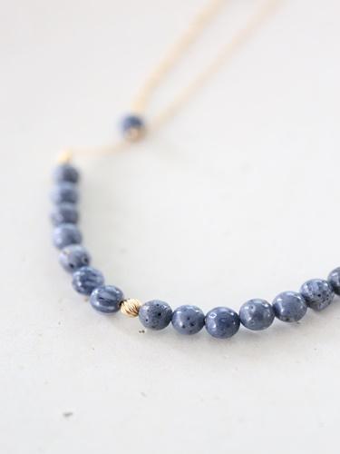 画像1: 14KGF  blue coral necklace