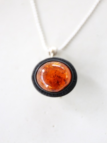 画像1: SILVER925 amberreversible necklace