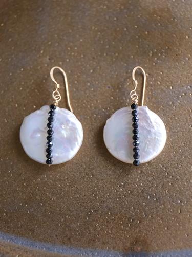 画像1: 14KGF  black spinel pearl pierce