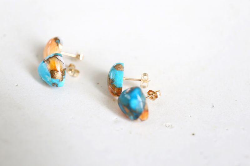 画像3: 14KGF  oystercopperturquoise pierce