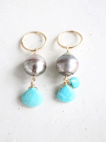 画像1: 14KGF South Sea Pearl turquoise pierce