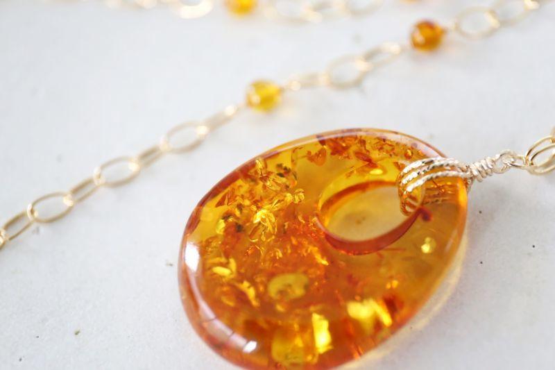 画像3: 14KGF amber necklace