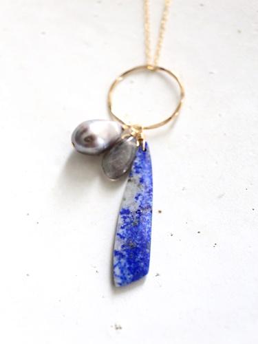 画像1: 14KGF South Sea Pearl lapis lazuli necklace