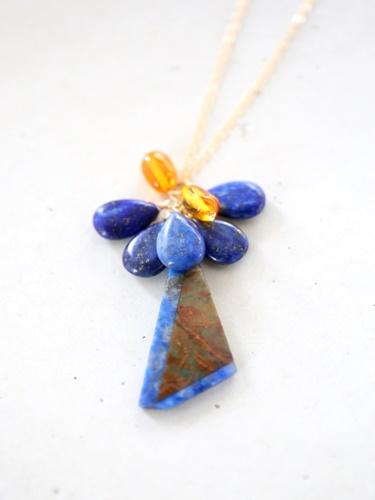画像1: 14KGF  greenopal lapis lazuli amber necklace