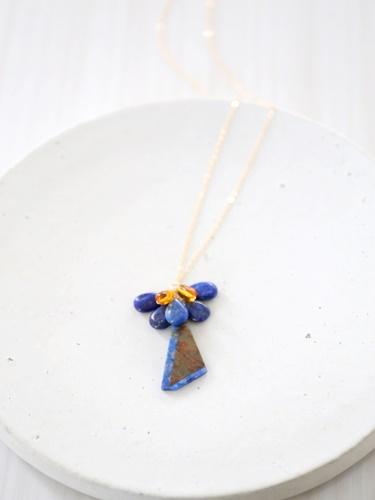 画像2: 14KGF  greenopal lapis lazuli amber necklace