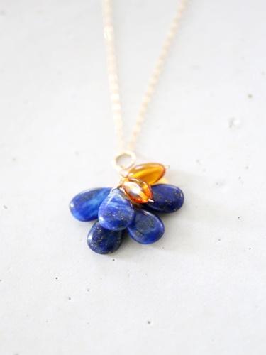 画像1: 14KGF  lapis lazuli amber necklace