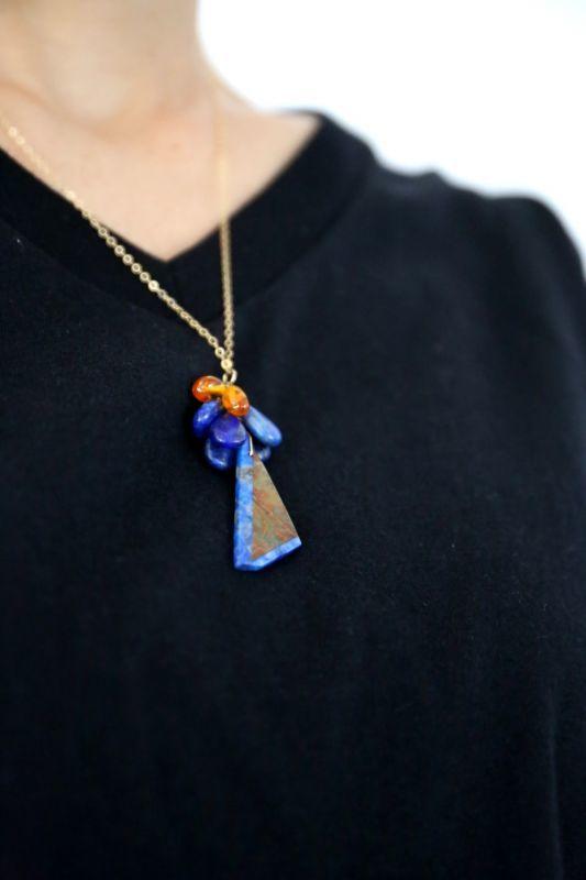 画像3: 14KGF  greenopal lapis lazuli amber necklace