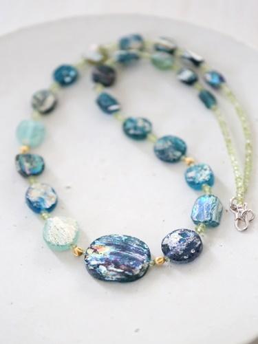 画像1: SILVER925 roman glass  necklace