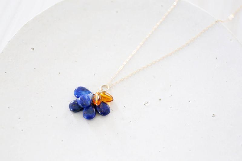 画像2: 14KGF  lapis lazuli amber necklace