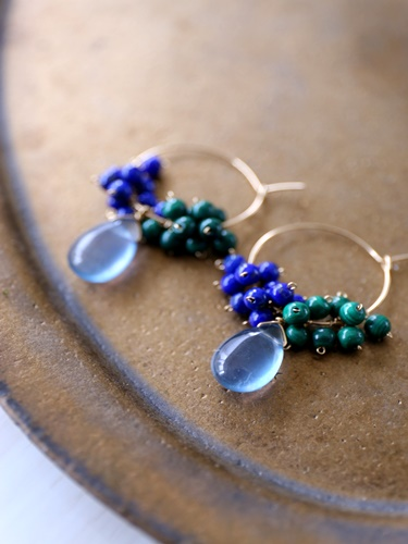 画像1: 14KGF lapis lazuli malachite flowlignt hooppierce